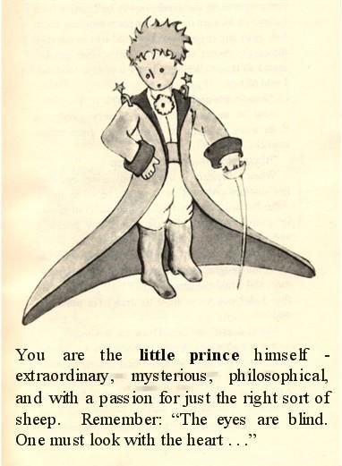 """The Little Prince. Remember. """"The eyes are blind. One must look with the heart ..."""""""
