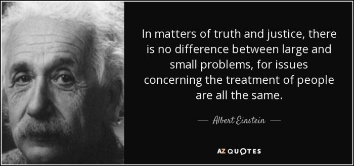 In matters of truth and justice there is no difference between large and small problems, for issues concerning the treatment of people are all the same. Albert Einstein.