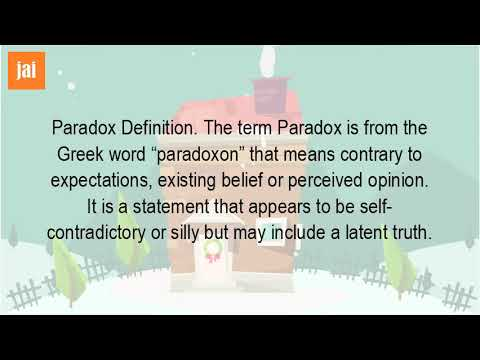 Paradox Definition. The term Paradox is from the Greek word. It means contrary to expectations, existing belief or perceived opinion. It is a statement that appears to be self-contradictory or silly but may include a latent truth.