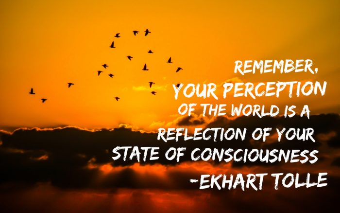 Remember, your perception of the world is a reflection of your state of consciousness - Ekart Tolle