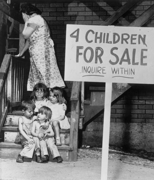 A mother puts up her children for sale in 1948.